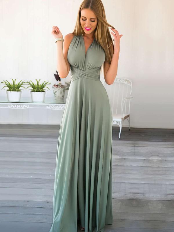 A-line V-neck Chiffon Floor-length Ruffles Prom Dresses #LDB020103580
