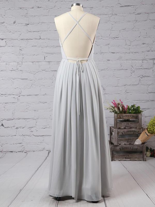 A-line V-neck Chiffon Floor-length Split Front Prom Dresses #LDB020103583