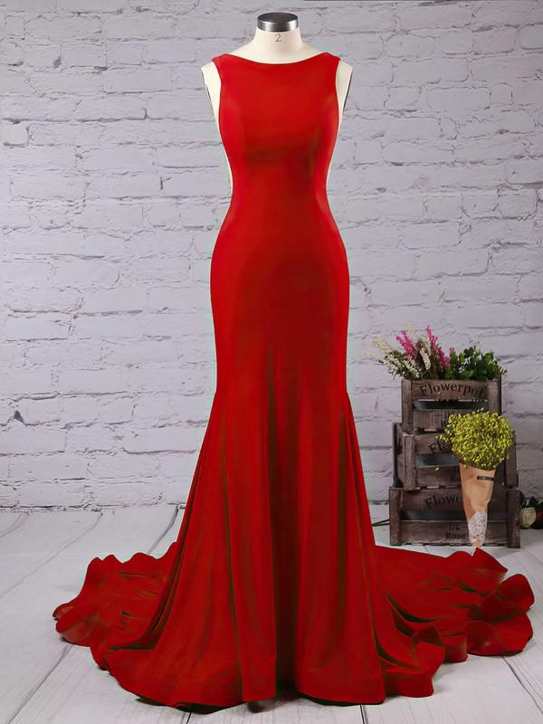 Trumpet/Mermaid Scoop Neck Jersey Court Train Prom Dresses #LDB020103588
