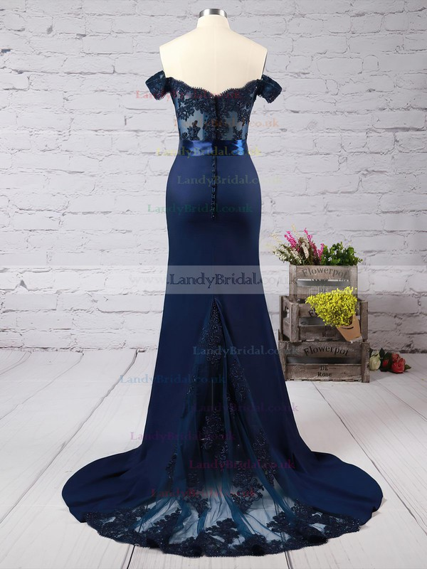 Trumpet/Mermaid Off-the-shoulder Silk-like Satin Sweep Train Beading Prom Dresses #LDB020103589