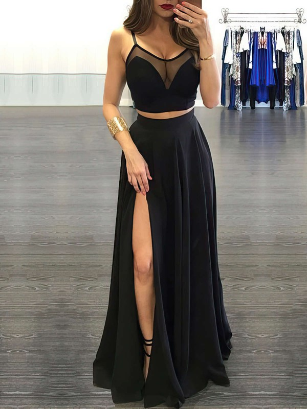 A-line Scoop Neck Chiffon Floor-length Split Front Prom Dresses #LDB020103593