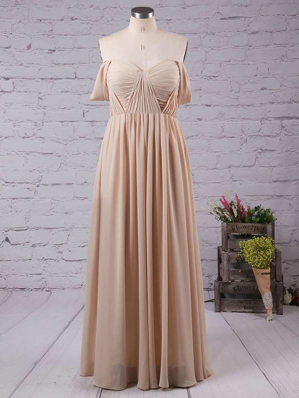 A-line Off-the-shoulder Chiffon Floor-length Ruffles Prom Dresses #LDB020103599