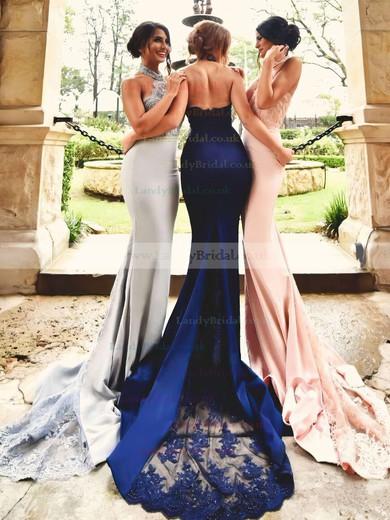 Trumpet/Mermaid Halter Jersey Court Train Appliques Lace Prom Dresses #LDB020103600