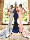 Trumpet/Mermaid Halter Jersey Court Train Appliques Lace Prom Dresses #LDB020103600