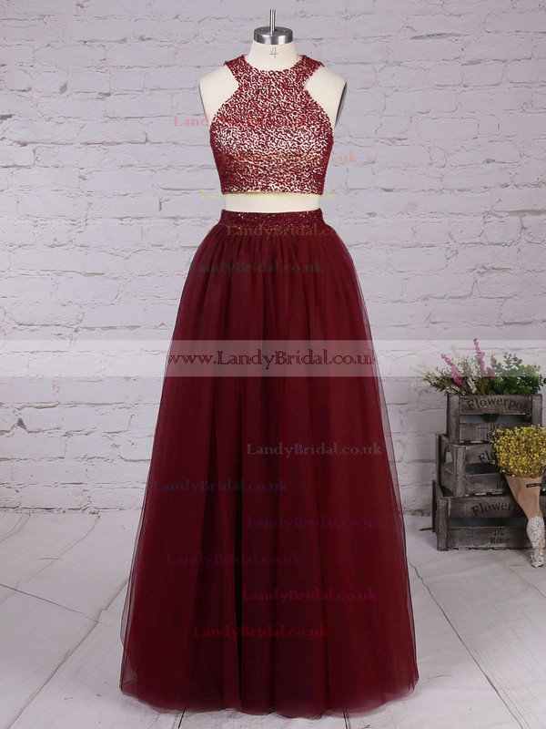 A-line Scoop Neck Tulle Floor-length Beading Prom Dresses #LDB020103601