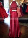 A-line High Neck Silk-like Satin Sweep Train Beading Prom Dresses #LDB020103602