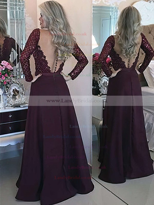 A-line Scoop Neck Satin Floor-length Appliques Lace Prom Dresses #LDB020103603