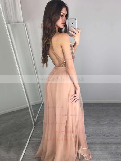 A-line V-neck Tulle Sequined Floor-length Split Front Prom Dresses #LDB020103637