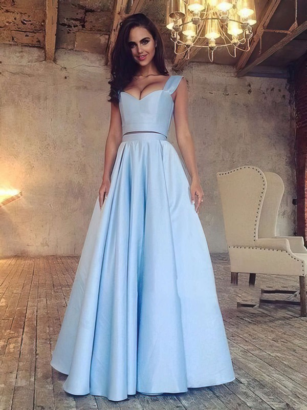 A-line V-neck Satin Floor-length Prom Dresses #LDB020103649