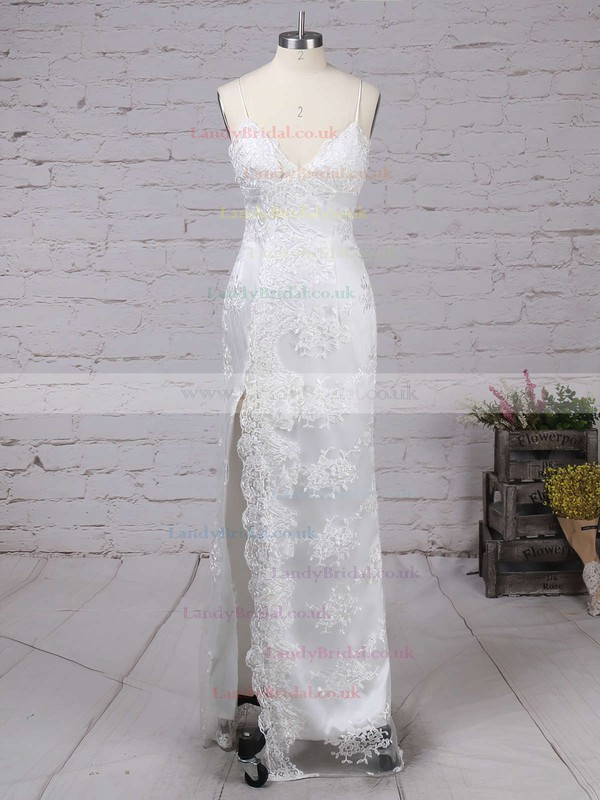Sheath/Column V-neck Lace Floor-length Appliques Lace Prom Dresses #LDB020103652