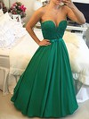 Princess Scoop Neck Satin Floor-length Beading Prom Dresses #LDB020103654
