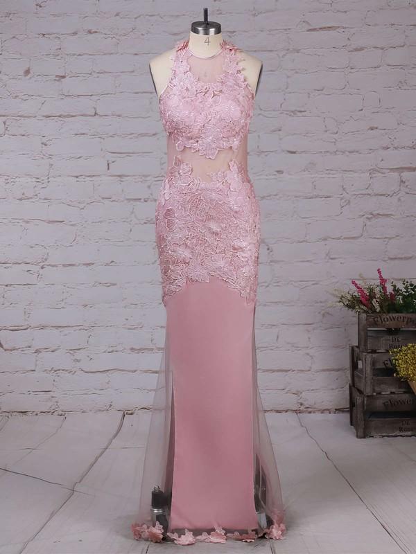Trumpet/Mermaid Scoop Neck Tulle Floor-length Appliques Lace Prom Dresses #LDB020103669
