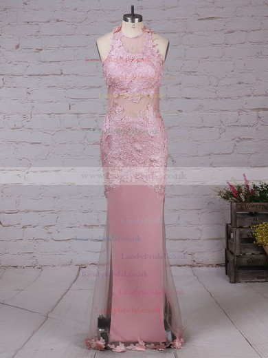 Trumpet/Mermaid Scoop Neck Tulle Floor-length Appliques Lace Prom Dresses #LDB020103669