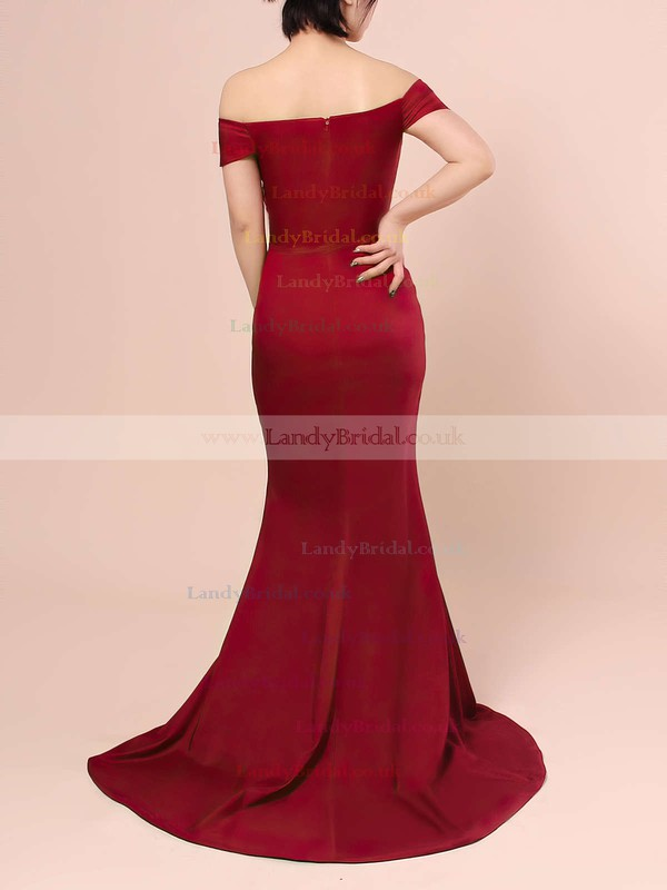 Trumpet/Mermaid Off-the-shoulder Jersey Sweep Train Split Front Prom Dresses #LDB020103671