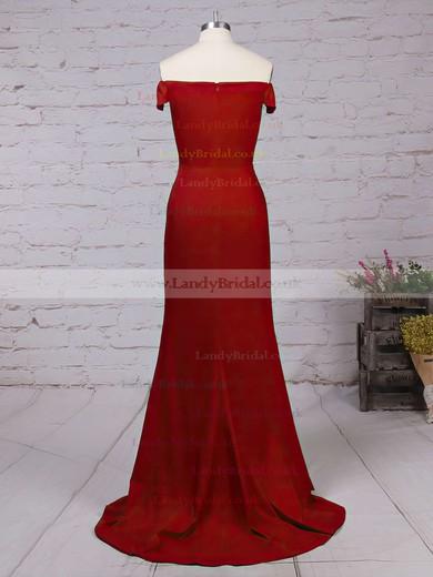 Trumpet/Mermaid Off-the-shoulder Jersey Sweep Train Split Front Prom Dresses #LDB020103671