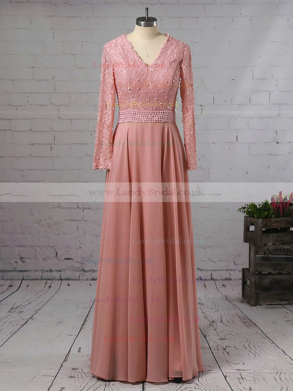 A-line V-neck Chiffon Sweep Train Appliques Lace Prom Dresses #LDB020103677