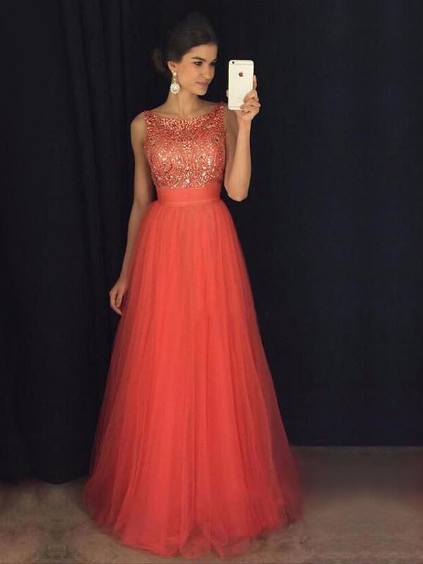 Princess Scoop Neck Tulle Floor-length Beading Prom Dresses #LDB020103678