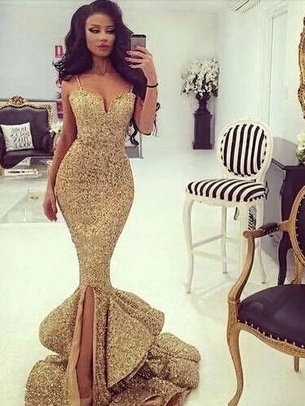 Trumpet/Mermaid V-neck Sequined Sweep Train Split Front Prom Dresses #LDB020103699