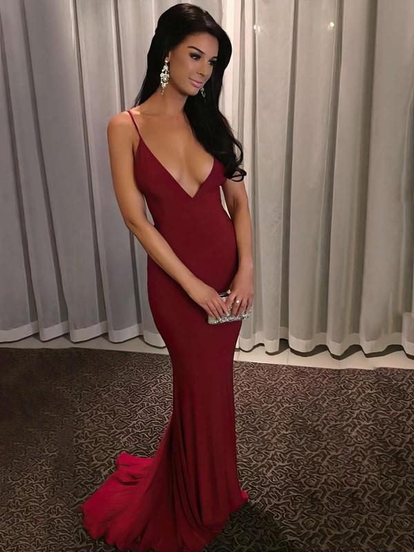 Sheath/Column V-neck Jersey Sweep Train Prom Dresses #LDB020103703