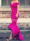 Trumpet/Mermaid Off-the-shoulder Satin Asymmetrical Prom Dresses #LDB020103720