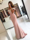 Trumpet/Mermaid Off-the-shoulder Silk-like Satin Sweep Train Appliques Lace Prom Dresses #LDB020103721