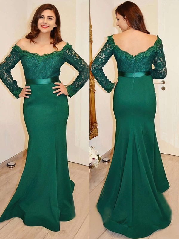 Trumpet/Mermaid Off-the-shoulder Lace Silk-like Satin Sweep Train Sashes / Ribbons Prom Dresses #LDB020103731
