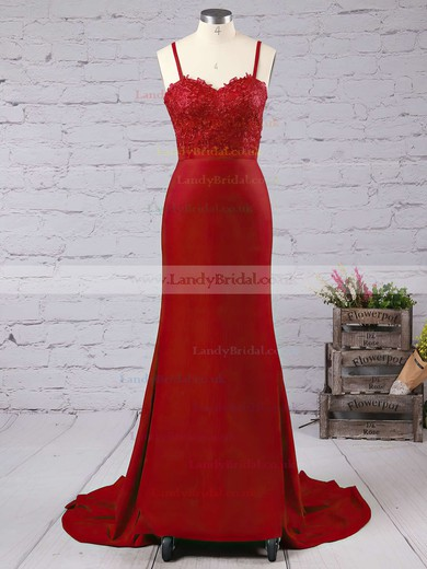 Trumpet/Mermaid Sweetheart Jersey Court Train Appliques Lace Prom Dresses #LDB020103733
