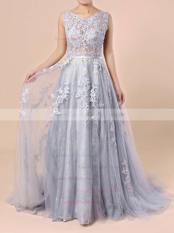 Ball Gown Scoop Neck Lace Tulle Sweep Train Appliques Lace Prom Dresses #LDB020103746