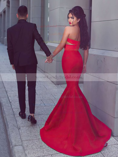Trumpet/Mermaid Sweetheart Satin Sweep Train Ruffles Prom Dresses #LDB020103768