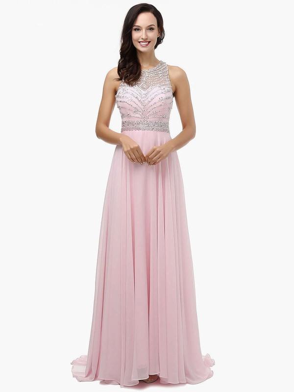 A-line Scoop Neck Chiffon Sweep Train Beading Prom Dresses #LDB020104148