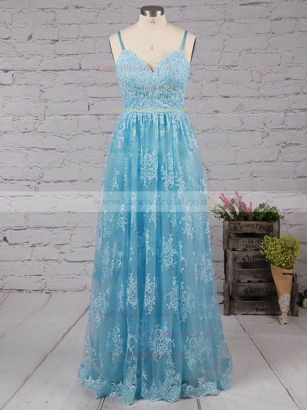 A-line V-neck Tulle Sweep Train Appliques Lace Prom Dresses #LDB020104261