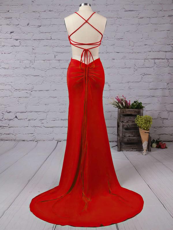Trumpet/Mermaid Scoop Neck Jersey Sweep Train Prom Dresses #LDB020104329