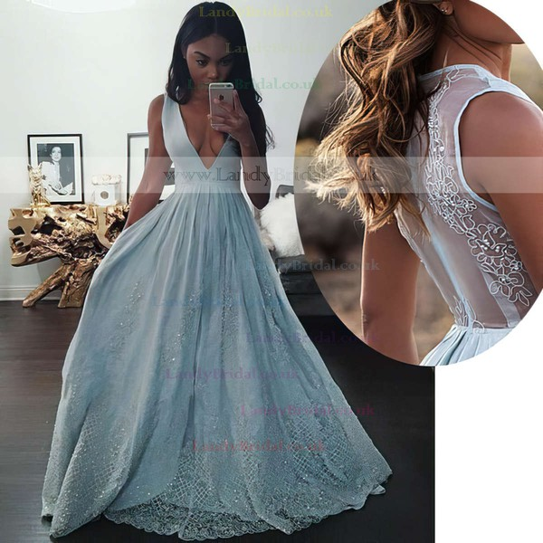 Princess V-neck Tulle Floor-length Beading Prom Dresses #LDB020104343