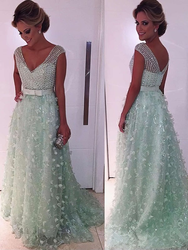 A-line V-neck Lace Tulle Sweep Train Beading Prom Dresses #LDB020104353