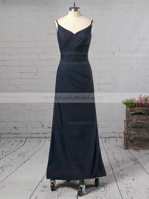 Sheath/Column V-neck Silk-like Satin Ankle-length Split Front Prom Dresses #LDB020104358
