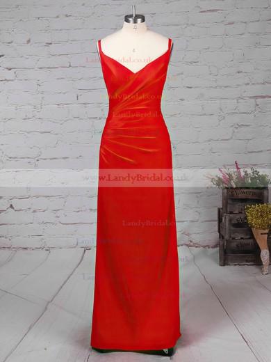 Sheath/Column V-neck Silk-like Satin Ankle-length Split Front Prom Dresses #LDB020104358