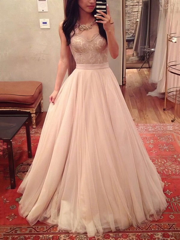 Ball Gown Sweetheart Tulle Floor-length Appliques Lace Prom Dresses #LDB020104360