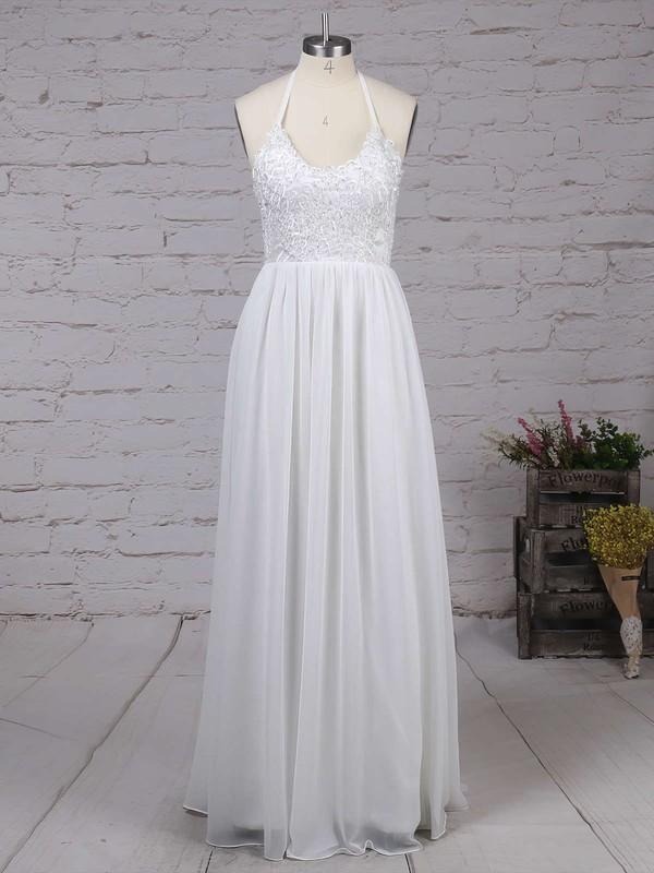 A-line V-neck Chiffon Floor-length Lace Prom Dresses #LDB020104412