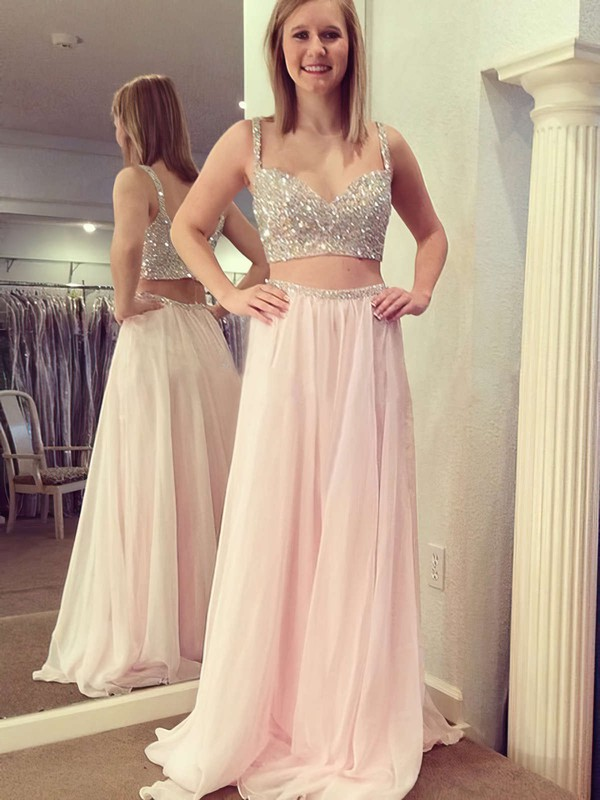 A-line V-neck Chiffon Floor-length Beading Prom Dresses #LDB020104413