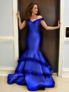 Trumpet/Mermaid Off-the-shoulder Satin Floor-length Tiered Prom Dresses #LDB020104417