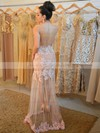 Trumpet/Mermaid Scoop Neck Tulle Floor-length Appliques Lace Prom Dresses #LDB020104424