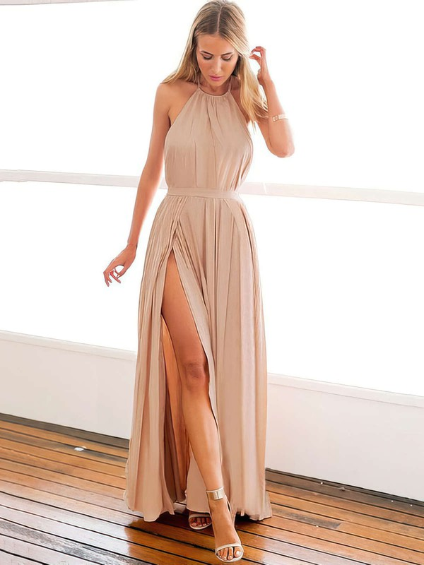 A-line Halter Chiffon Ankle-length Split Front Prom Dresses #LDB020104432
