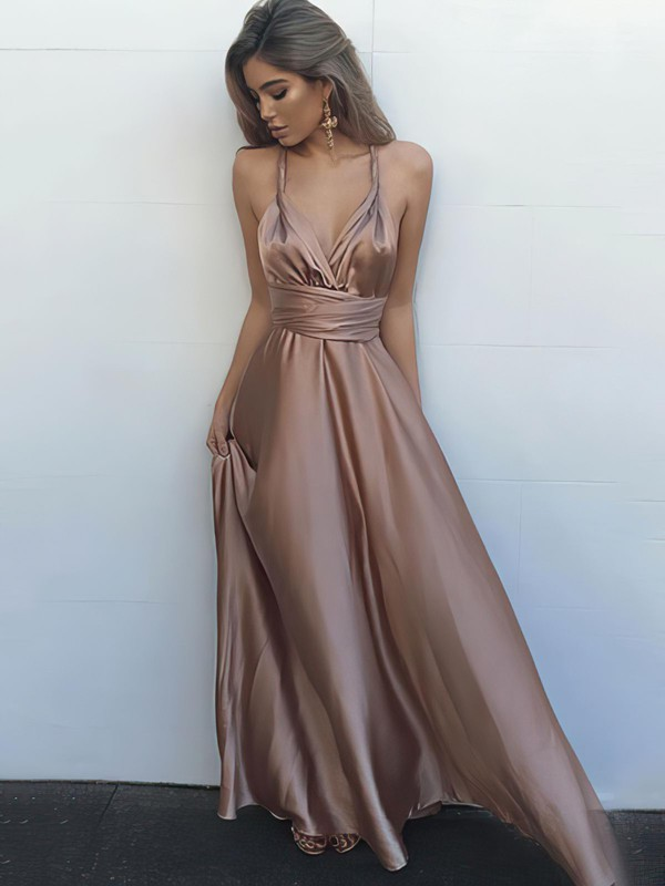 A-line V-neck Silk-like Satin Floor-length Ruffles Prom Dresses #LDB020104433