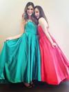 A-line Strapless Satin Ankle-length Prom Dresses #LDB020104436