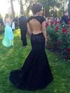 Trumpet/Mermaid Scoop Neck Lace Sweep Train Appliques Lace Prom Dresses #LDB020104446