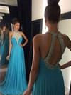 A-line Scoop Neck Chiffon Sweep Train Beading Prom Dresses #LDB020104454