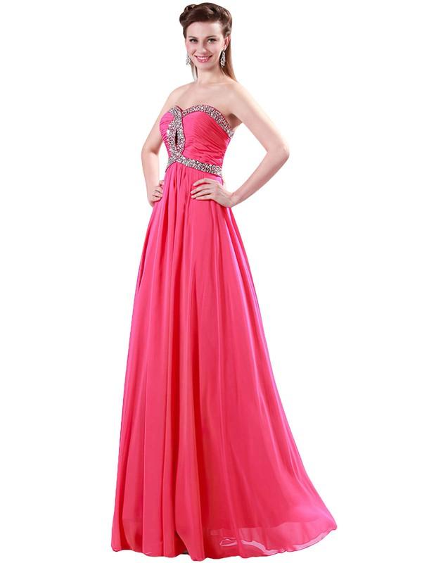 A-line Sweetheart Chiffon Floor-length Beading Prom Dresses #LDB020104464