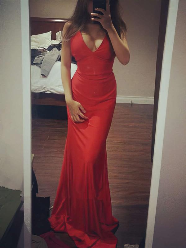 Trumpet/Mermaid V-neck Jersey Floor-length Prom Dresses #LDB020104469