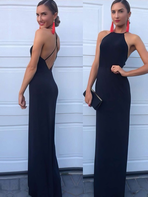 Sheath/Column Scoop Neck Jersey Floor-length Prom Dresses #LDB020104474