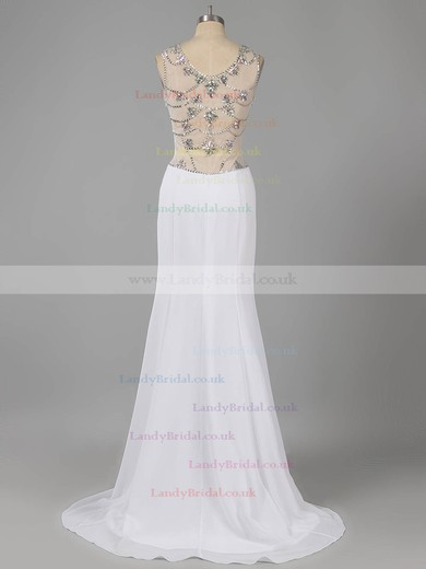 Scoop Neck Black Chiffon Tulle with Crystal Detailing Modern Sweep Train Prom Dresses #LDB02015326